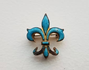 Antique Enamel Fleur De Lis Gilt Brooch Fob