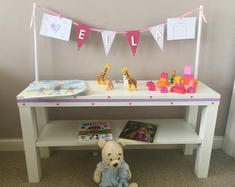Children's personalised play table with bunting girls theme