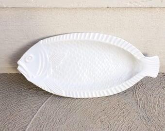 1960s White Ceramic Fish Platter Large|Ceramic Animals Fish Tray Koi Fish Kitchen Decor Koi Fish Tray Ceramic Oven Proof Pottery Plate Dish