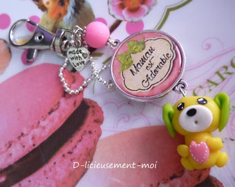 Silver cabochon clasp bag charm key ring 25 mm MOM is adorable and dog polymer clay