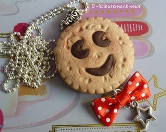 Long necklace Choker silver biscuit BN type polymer clay bow red ball charm white dots star