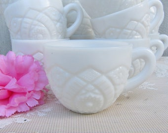 Milk Glass Punch Cups, Mc Kee glass punch cup, Concord Pattern teacups, Wedding Table Centerpiece, Assorted Teabag and Sugar Packet Holder