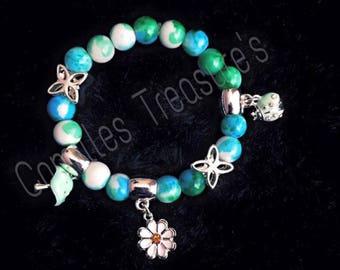Blue Green girls bracelet