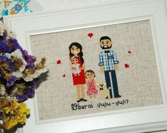 Family portrait Cross Stitch Family Home decor Housewarming gift Custom portrait  Family gift Engagement Anniversary Gift Idea for wife