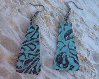 Fan blade style leather earrings, aqua embossed leather earrings