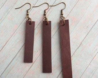 Joanna Gaines inspired leather earrings, brown leather dangle earrings, brown leather earrings in 3 lengths