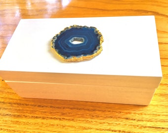 Small Lacquer box:  blue agate with gold trim