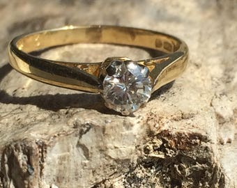 0.35ct Vintage 18ct Yellow Gold Solitaire Diamond Ring Size i.5 or 4.5+