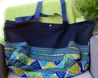 Beach tote bag large capacity in cotton with pockets