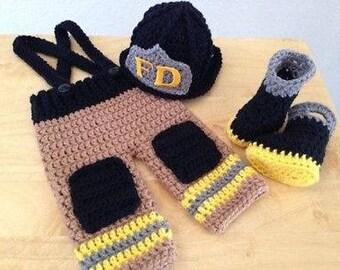 Crocheted Baby Firefighter Bunker Gear-Style #2