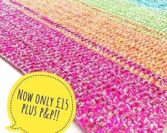 Chunky Rainbow Crochet Blanket/Play Mat