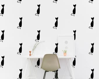 Cat wall Decal - Kitty Nursery / Kids room Wall Sticker, Kids Bedroom Pattern Wallpaper Vinyl Wall Decals, Nursery Wall Stickers Home Decor