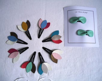 """Hair clip snap leather model multicolored """"plumes"""", color choice to order"""