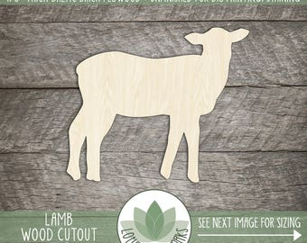 Lamb Wood Cut Shape, Unfinished Wood Lamb Laser Cut Shape, DIY Craft Supply, Many Size Options