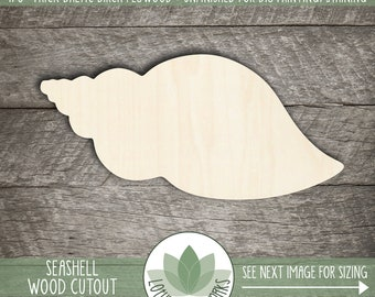 Seashell Wood Shape, Wooden Seashell Cutout, Blank Wood Shape, Unfinished Wood For DIY Projects, Seashell Wedding Favor, Many Size Options