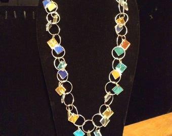 "Dichroic Glass Charm Necklace, 28""    (#201B)"
