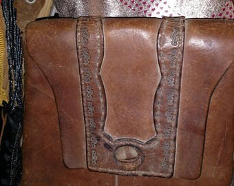 Vintage 1960z hand tooled Leather Purse