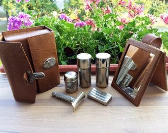 Vintage shaving kit 1960's Shaving set Genuine leather case Travel kit Man's accessory Compact shaving set Portable shaving kit Old razor