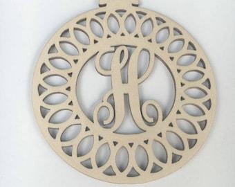 Monogram Ornament, Custom Ornament, Wooden Ornament, Wood Ornament, Blank Ornament, Personalized Ornament, Set of four