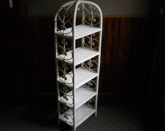Beautiful Vintage White Wicker Bookcase