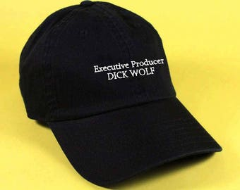 new Executive Producer DICK WOLF Baseball Hat Dad Hat White Pink Black Embroidered Unisex Adjustable Strap Back Baseball Cap dad cap