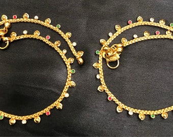 Traditional look multicolor stones anklets  *** FREE SHIPPING ***