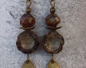 """Earrings """"Bohemian floral"""" pierced or non-pierced"""
