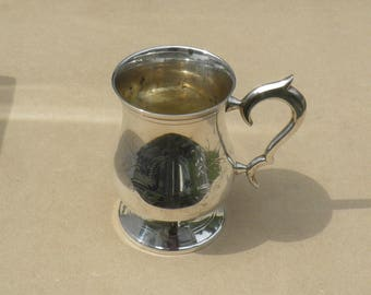 Silver Plated Tankard - Lovely Etched Design - Vintage Silverplate
