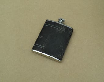 6oz Hip Flask - Stainless Steel - Black Leather Covering - Distressed/Worn/Shabby Chic - Vintage Stainless Steel