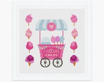 Cotton Candy cross stitch pattern pdf, Modern cross stitch, instant download, Sweet cross stitch pattern, 003