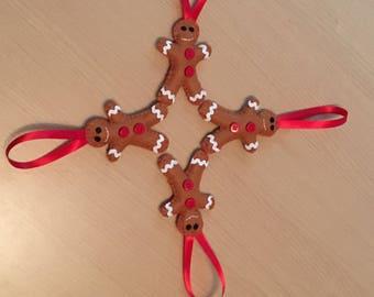 4 Hanging Gingerbread Men, Felt Gingerbread Man, Christmas Tree Decoration, Gingerbread Man, Hanging Christmas Decoration, Felt Decoration
