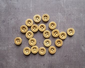 50 buttons wood round beige Brown Contour line sewing 1.3 cm