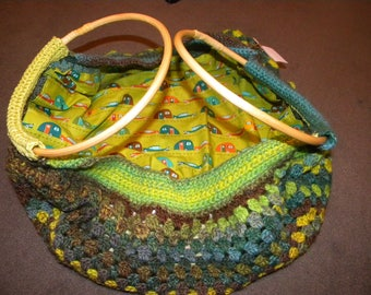 """bag ball """"to the small caravans"""" yellow green blue brown tones"""