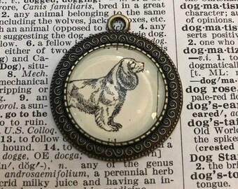 Handmade Vintage Dictionary Dog Necklace - Cocker Spaniel