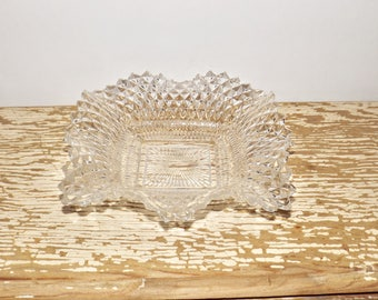 """Square hobnail clear glass candy dish,ruffled edges,7"""" square,starburst pattern,saw tooth edges,fancy nut dish,snack dish,glass serving bowl"""