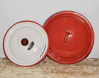 "Enamel pot lids,red and white,enamelware,enamel cookware,6.5"" lid, 7.5"" lid,set of 2,rustic kitchen,farmhouse,kitchen decor,country kitchen"