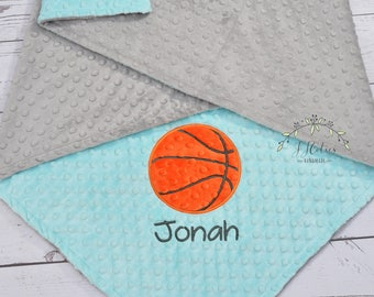Personalized Basketball baby blanket-Personalized Baby minky blanket-Basketball baby minky blanket-Sports baby blanket-Sports minky blanket
