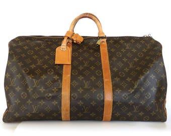 Authentic LOUIS VUITTON Monogram Canvas Leather Keepall 55 Boston Travel Bag