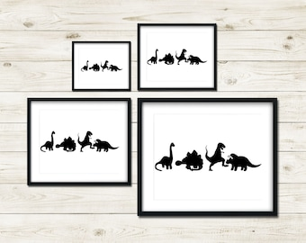 DINOS | Silhouette Dinosaur Line Up Decor | Dinosaur Print | Dinosaur Bedroom Decor | Dinosaur Kids Bedroom Decor | Dino Kids Bedroom Decor