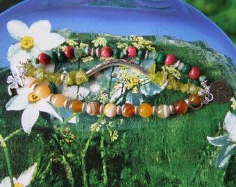 Bohemian gypsy hippie triple rows bracelet green fuschia amber yellow