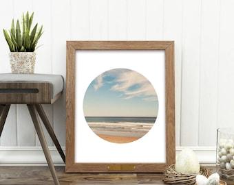 beach photograph, beach print, printable beach art, ocean, landscape photography, coastal decor, nautical art, minimalist, circle print