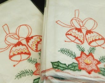 Set of 4 Vintage Christmas Guest Towel Napkin Linen, Embroidered Cotton Holiday Linens, Red Christmas Bells, Green Holly Leaves, Poinsettias