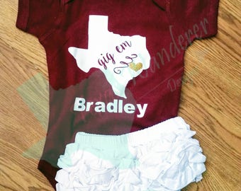 Aggie baby etsy texas am gig em bodysuit onesie texas college outfit texas aggie baby negle Gallery