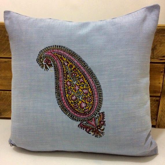 paisley pattern | traditional block printed technique | home decor | Nautical Blue | FARMHOUSE PILLOWS | gift idea