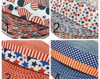 """1"""" July 4th Ribbon by the Yard, American Flag Ribbon, Independence Day Ribbon, Patriotic Ribbon, USA Ribbon, 4th of July Ribbon"""