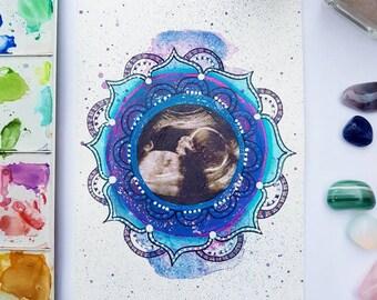 Scan photo art - custom scan photo mandala - pregnancy keepsake - new baby gift