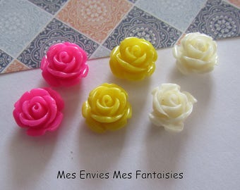 6 cabochons resin flowers 12mm base 8mm approx Mix R23