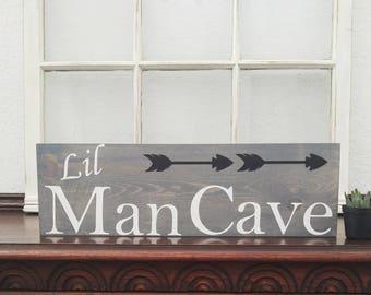 Lil Man Cave sign -  lil man cave arrow sign - lil man cave tribal decor - tribal baby shower - tribal nursery - arrow nursery decor