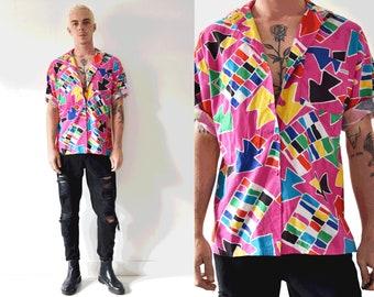 Multicolour Button Up Summer Vintage Short Sleeve Shirt/ 90s Unisex