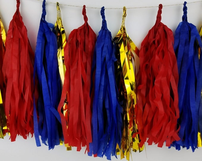 SALE! 4th of July Red, Blue, & gold Tassel Garland for Independence Day. Choose Pre-Made or Kit. Wonder Woman Inspired Birthday Decor.